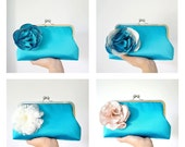 Teal Bridal and Bridesmaid Clutch Purse with Champagne Flower Brooch- Custom