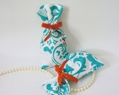 Teal Damask Fabric Bag