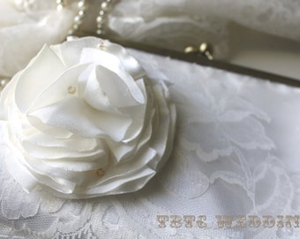 Wedding Purse- Ivory Lace with Flower Adornment