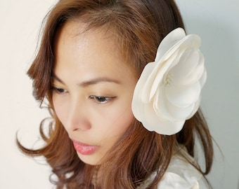Ivory Satin Flower Hair Adornment or Brooch