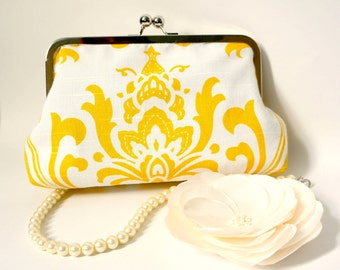 Yellow and White Damask Clutch- Custom