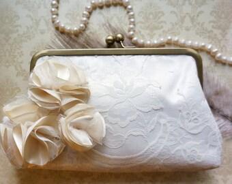 Ivory Lace Bridal Clutch Purse- Custom