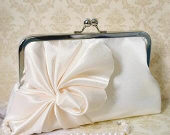 Art Deco Swirls Bridal and Bridesmaid Clutch Purse- Ivory