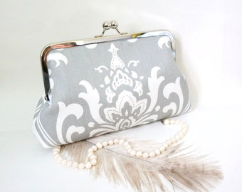 Gray Damask Bridal and Bridesmaid Clutch Purse