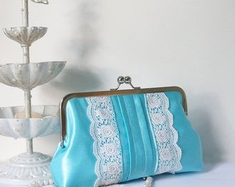 SALE- Romantic Pleated Clutch Purse with Lace Trims- Aqua Blue
