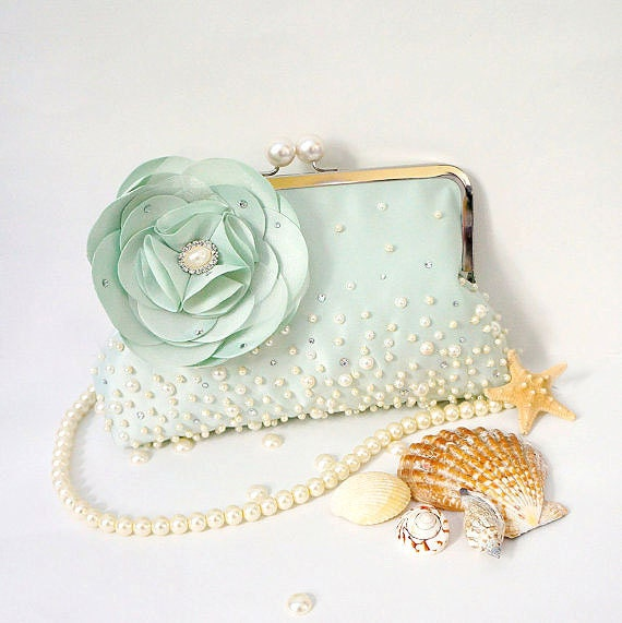 Romantic  Beach Wedding Bridal Clutch Purse- Beaded Seafoam Green with Flower Brooch