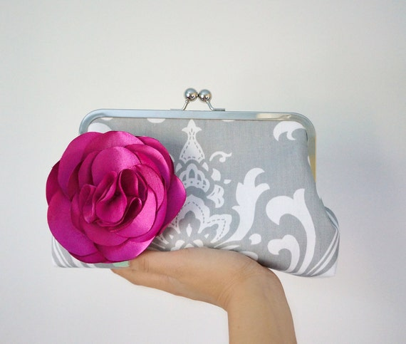 Bridesmaid Clutch Purse or Gift- Damask with Flower Brooch- Custom