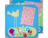 2 Page, 12x12 Girl Friends, Little Girls, Birds, Butterflies, Flowers Premade Scrapbook Layout Multiple Photos