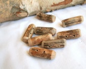 Wooden toggle buttons - oak wood - chunky - set of 8 - with 2 holes - craft, fiber, yarn projects, journals, bags, coats - by Ligamentum