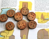Chunky wooden buttons - set of 8 - medium - with 4 holes - for craft and fiber projects, hats, bags, scarfs - from the Netherlands