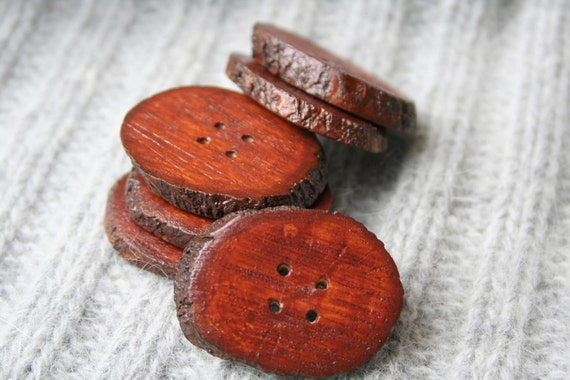 Red wood buttons - mahagony red - set of 6 with 4 holes - 2-3cm 1""