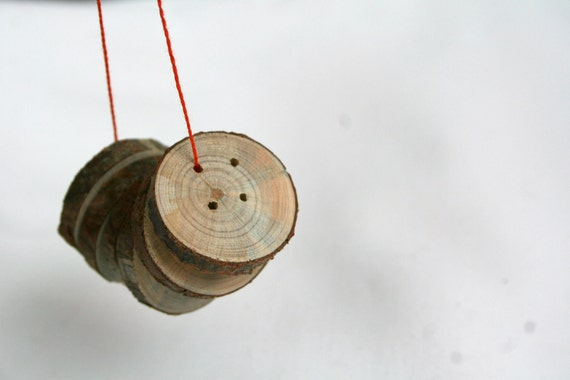 "Wood buttons - set of 6 with 4 holes - 1"" 2.5cm"