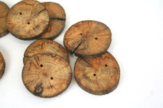 Dark wood buttons - set of 8 wooden buttons with 2 holes - for your art, craft, yarn and fiber projects, hats, bags, scarfs, coats...