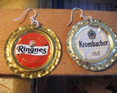 bottle cap earrings - european beers