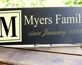 "Family Name Plus ""since date"" with adorable monogram detail 7.5x19"" In Your Choice of Colors"