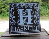 "11x11 Wooden ""Tile"" Sign in Initial Design With Lovely Floral Detail and Last Name"