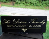 """Last Name plus Est. Date Sign With Decorative Detail Sign  7.5x19"""" In Your Choice of Colors, Perfect for A Wedding Gift"""