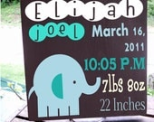 """11x11 Wooden """"Tile"""" Birth Announcement Sign 100% personalized Perfect for Little Boys Room"""
