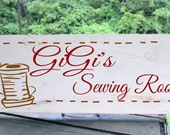 """Personalized """"GiGi's Sewing Room"""" sign 7.5x19"""" will fit wording and graphics to fit any room any person any style. Makes great gift"""