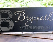 """Family Name Sign includes established date flourished monogram detail 7.5x19"""" In Your Choice of Colors"""