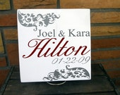 "11x11 Wooden ""Tile"" Sign With Gorgeous Flourish Design Includes Couples First and Last Name And Wedding Date"