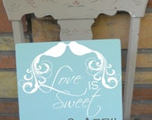 "Fancy Bird ""Love Is Sweet""  Design 11x11 Wooden ""Tile"" With Couple First Name and Wedding Date"