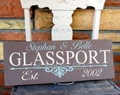 Personalized Couple Sign With Decorative Embelishment Includes Established Date and First and Last Names
