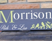 "Birds on Branch Embellished Sign With Personalized Last Name and First Name Detailing 7.5 x 19"" Sign , In Your Choice of Colors"