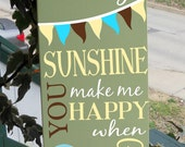 "7.5 x 19""  ""You are my sunshine"" room decor sign, with adorable flag, sun and hot air balloon detailing A real MUST SEE"