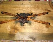 Wooden Serving Tray with woodburned Crossed Skis