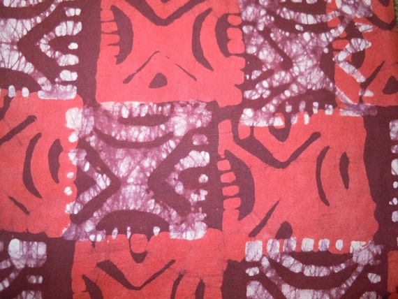 1075 - Hand dyed Batik Fabric  - (sold by the yard) - burgundy