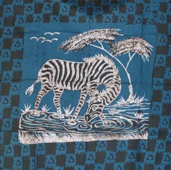 Batik Zebra Fabric Panel - Brown & Teal Blue - 8022