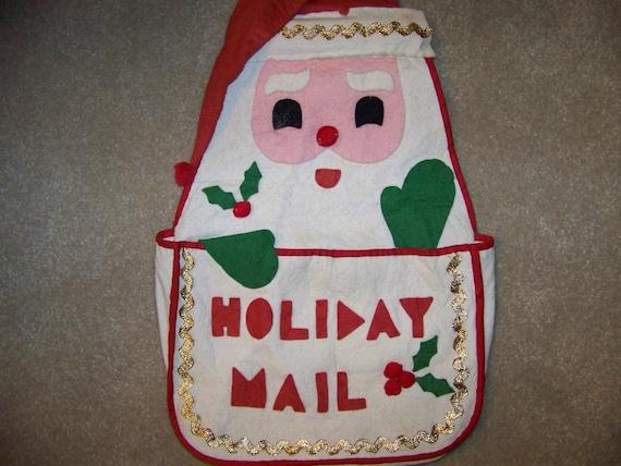 Vintage Christmas Card Mail Bag - Holiday Mail Card Holder - Felt Santa Holds Christmas Cards - Christmas Holiday Decor Ornaments Gift Idea