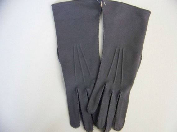 Vintage Womens Slate Gray Fashion Gloves Size 6 1/2 Never Worn