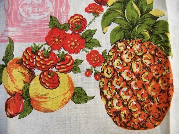 Vintage HAWAIIAN VIBE Fruit  Tea Towel Dish Towel - Pineapples Peaches Cherries Ginger Jar
