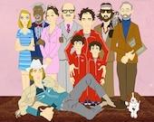 The Royal Tenenbaums Family Portrait Illustration. Fine Art Paper Print. Original artwork.