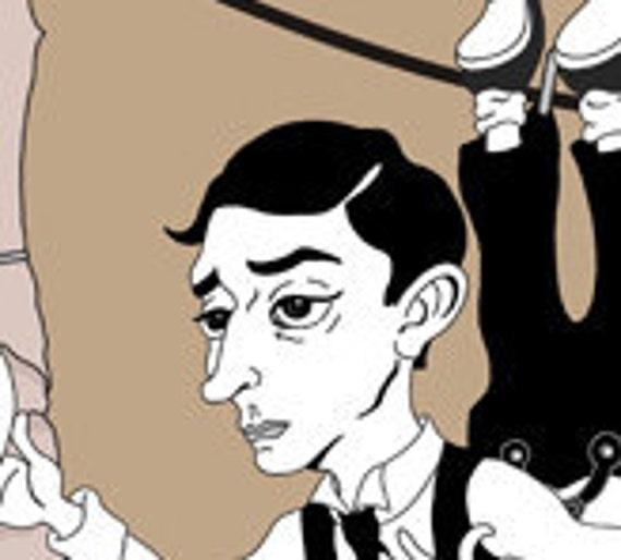 Buster Keaton Art. 3 Illustration Prints: Hello Neighbor, The Cameraman and The Navigator. Silent Film Illustrations.
