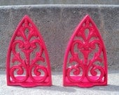 Hot Pink Metal Bookends Scrolly