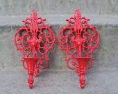 Gorgous Red Hollywood Regency Wall Sconce Set