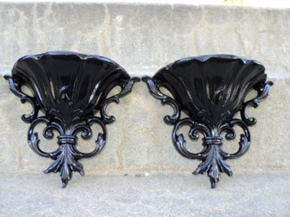 Set of Black Ornate Wall Sconces/Planters
