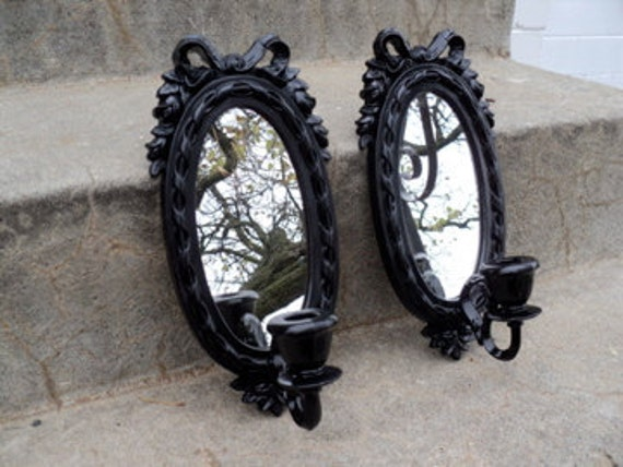 Reserved for Putonthespot Black Vintage Bow Set of Sconces