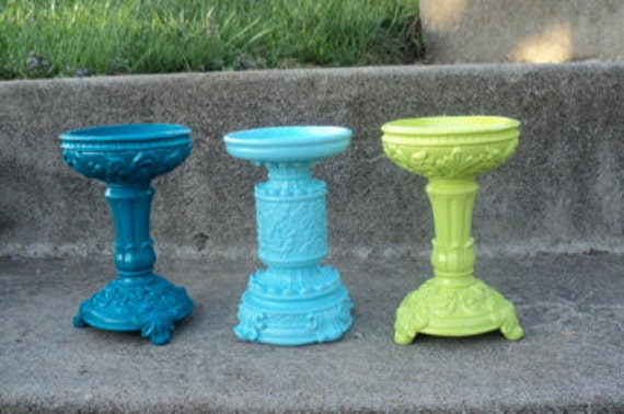 Turquoise Aqua and Lime Pillar Candle Holders Ornate