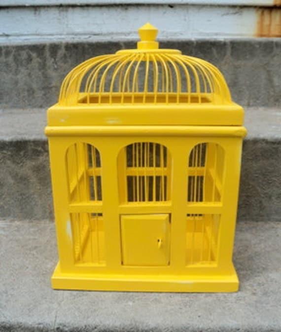 Shabby Chic Yellow Bird Cage WeddingCard/Plant Holder