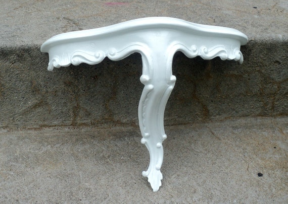 Hollywood Regency White Wall Shelf Ornate