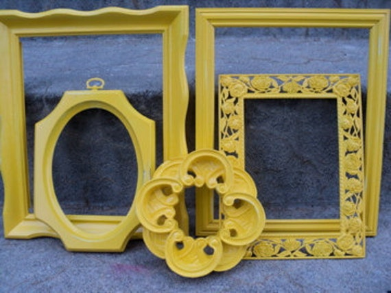 Reserved for Jazzkepner Sunny Yellow Picture Frame Set Ornate