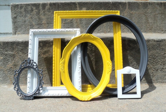 Yellow White and Gray Frame Set Ornate