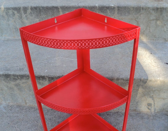 Red Metal Corner Shelf 3 Tier