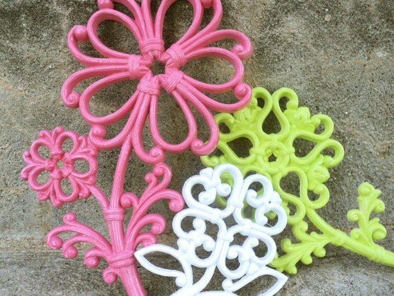 Pink Lime and White Flower Wall Hangings Ornate