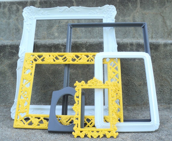 Reserved for Shana Yellow White and Gray Frame Set Ornate