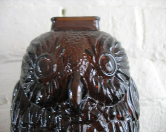 Vintage Owl Amber Glass Bank - Wise Old Owl - Libbey -Owl